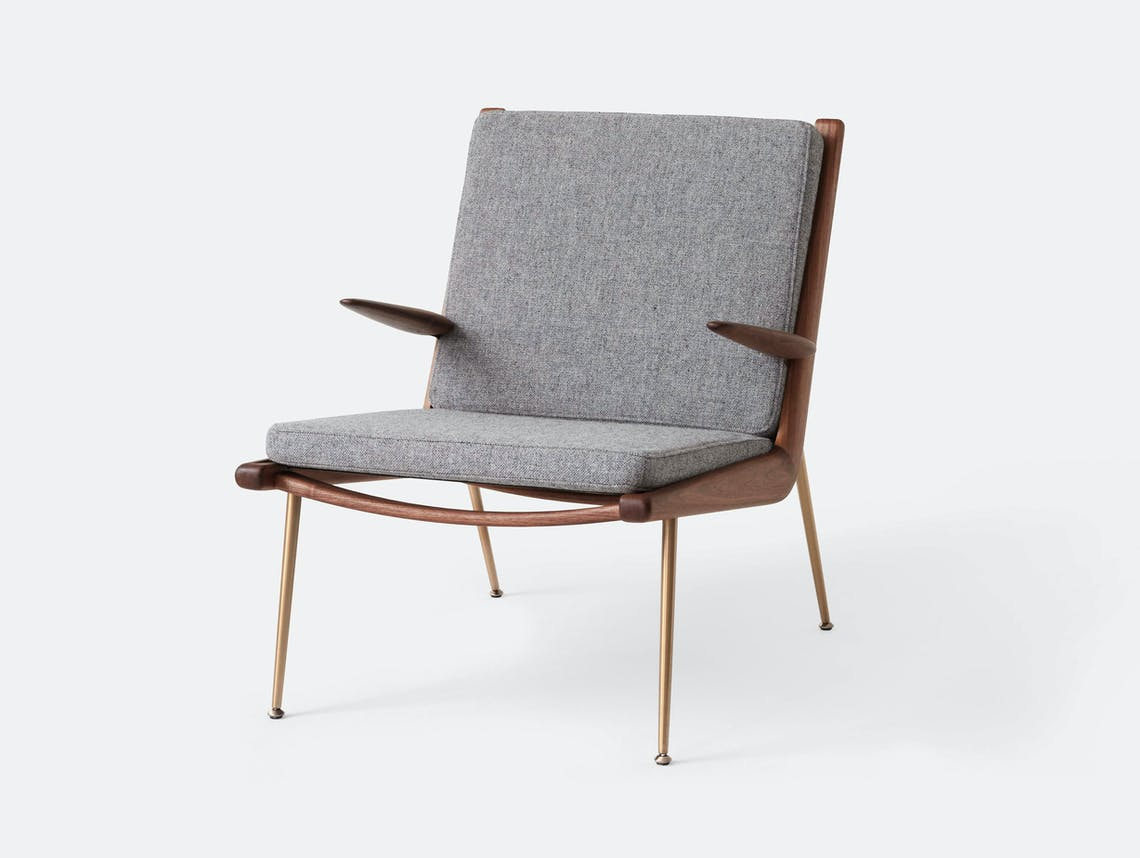 And Tradition Boomerang Lounge Chair with arms Walnut Hallingdal 130 Hvidt Molgaard