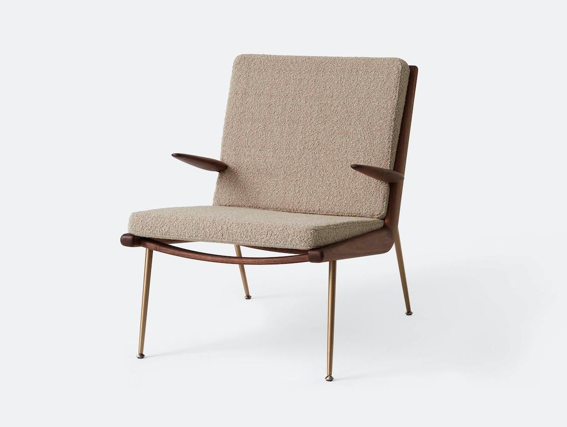 And Tradition Boomerang Lounge Chair with arms Walnut Karakorum 003 Hvidt Molgaard