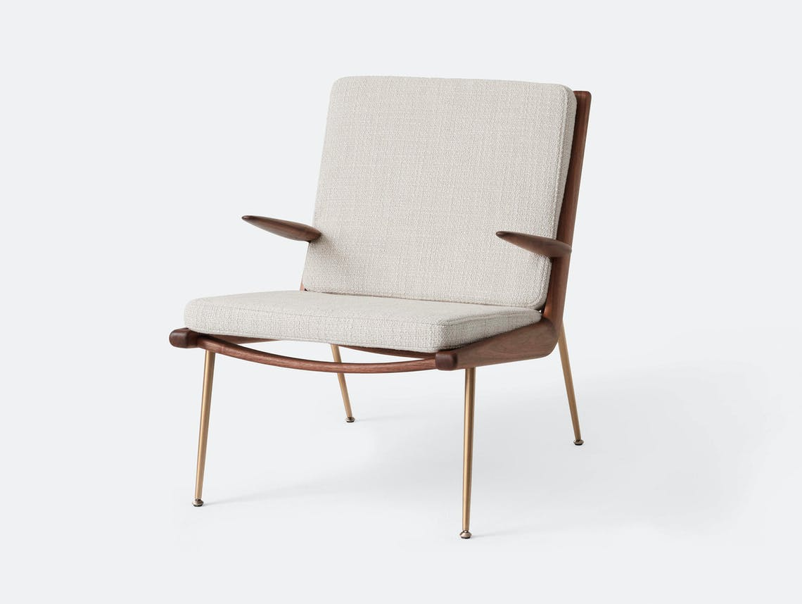 And Tradition Boomerang Lounge Chair with arms Walnut Loop Cream Hvidt Molgaard