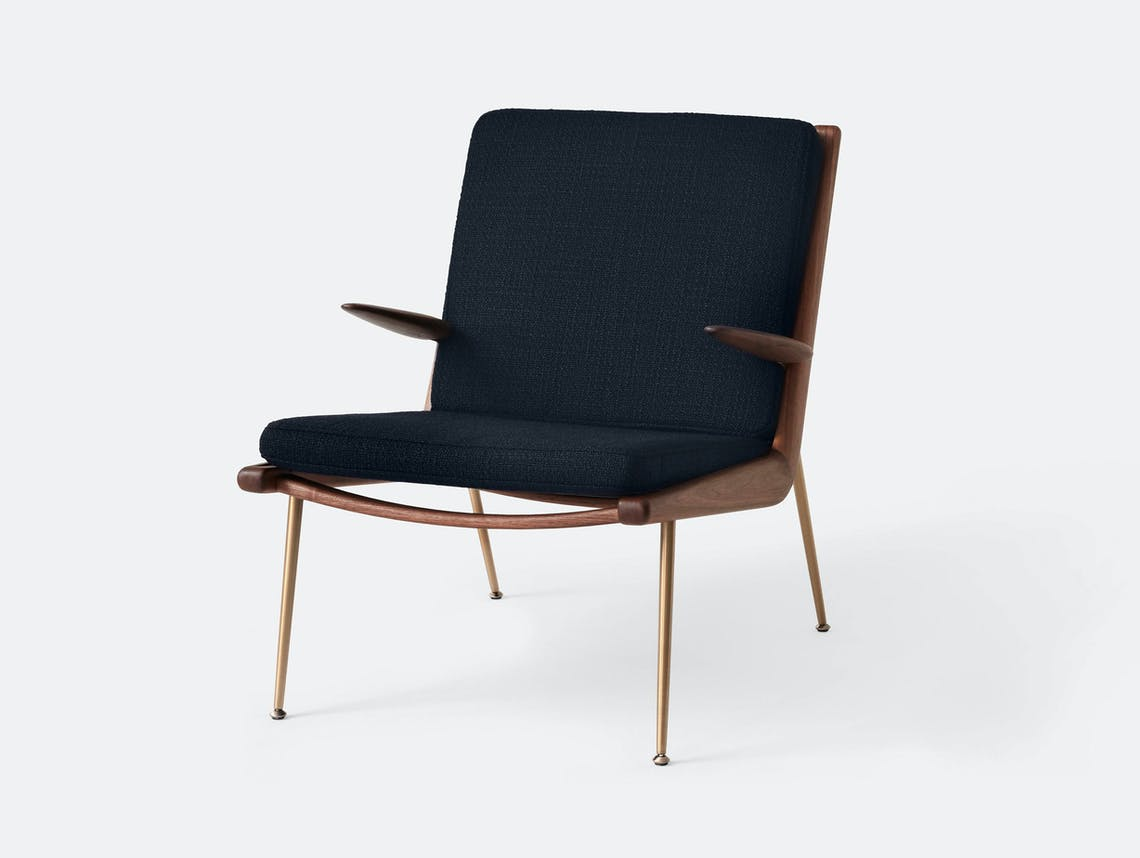 And Tradition Boomerang Lounge Chair with arms Walnut Loop Marine Hvidt Molgaard