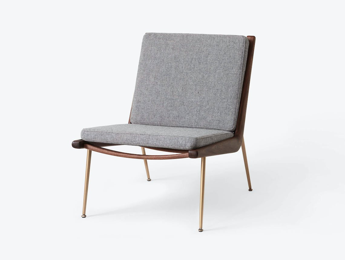 And Tradition Boomerang Lounge Chair without arms Walnut Hallingdal 130 Hvidt Molgaard