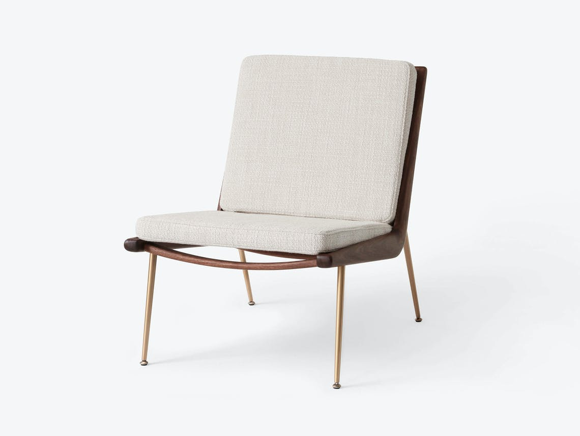 And Tradition Boomerang Lounge Chair without arms Walnut Loop Cream Hvidt Molgaard