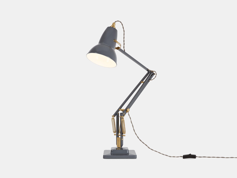 Anglepoise 1227 Brass Table Lamp Elephant Grey George Carwardine