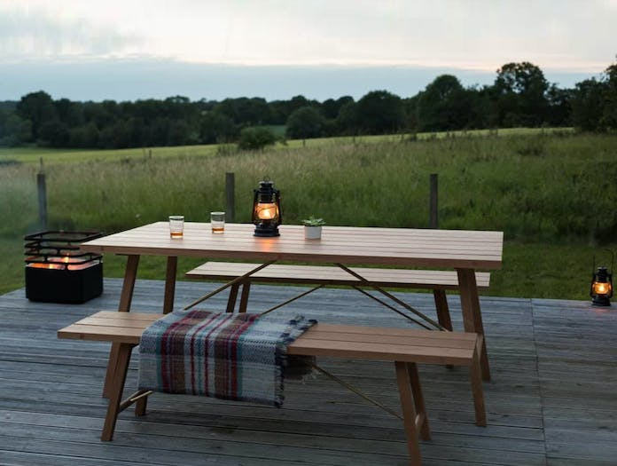 Another country outdoor table bench two oak