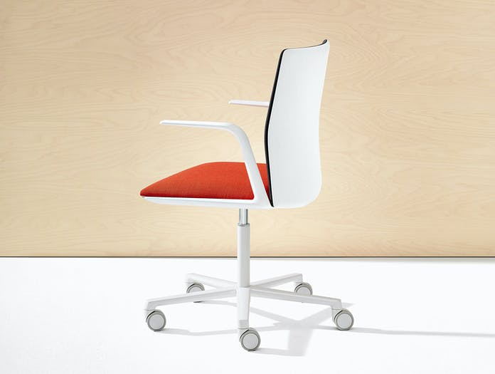 Kinesit Task Chair White Red Seat Blk Back Lievore Altherr Molina