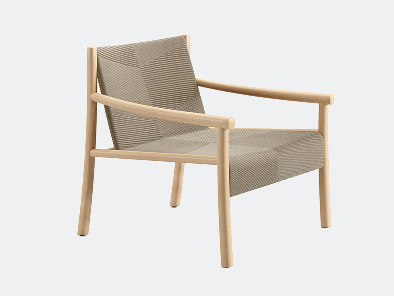 Arper kata lounge armchair oak 3d knit linen