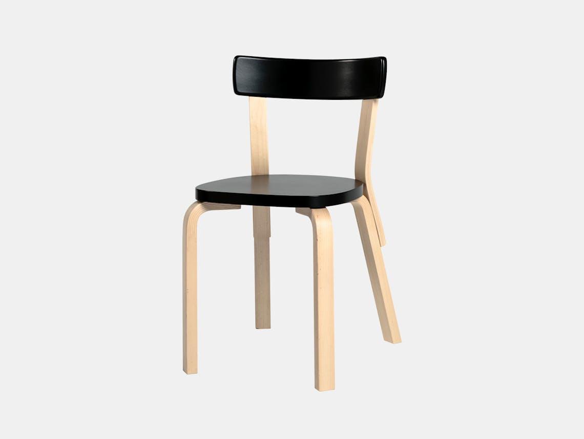 Artek Chair 69 Palmio Birch Black Alvar Aalto