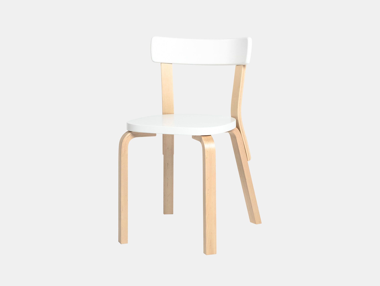 Artek Chair 69 Palmio Birch White Alvar Aalto
