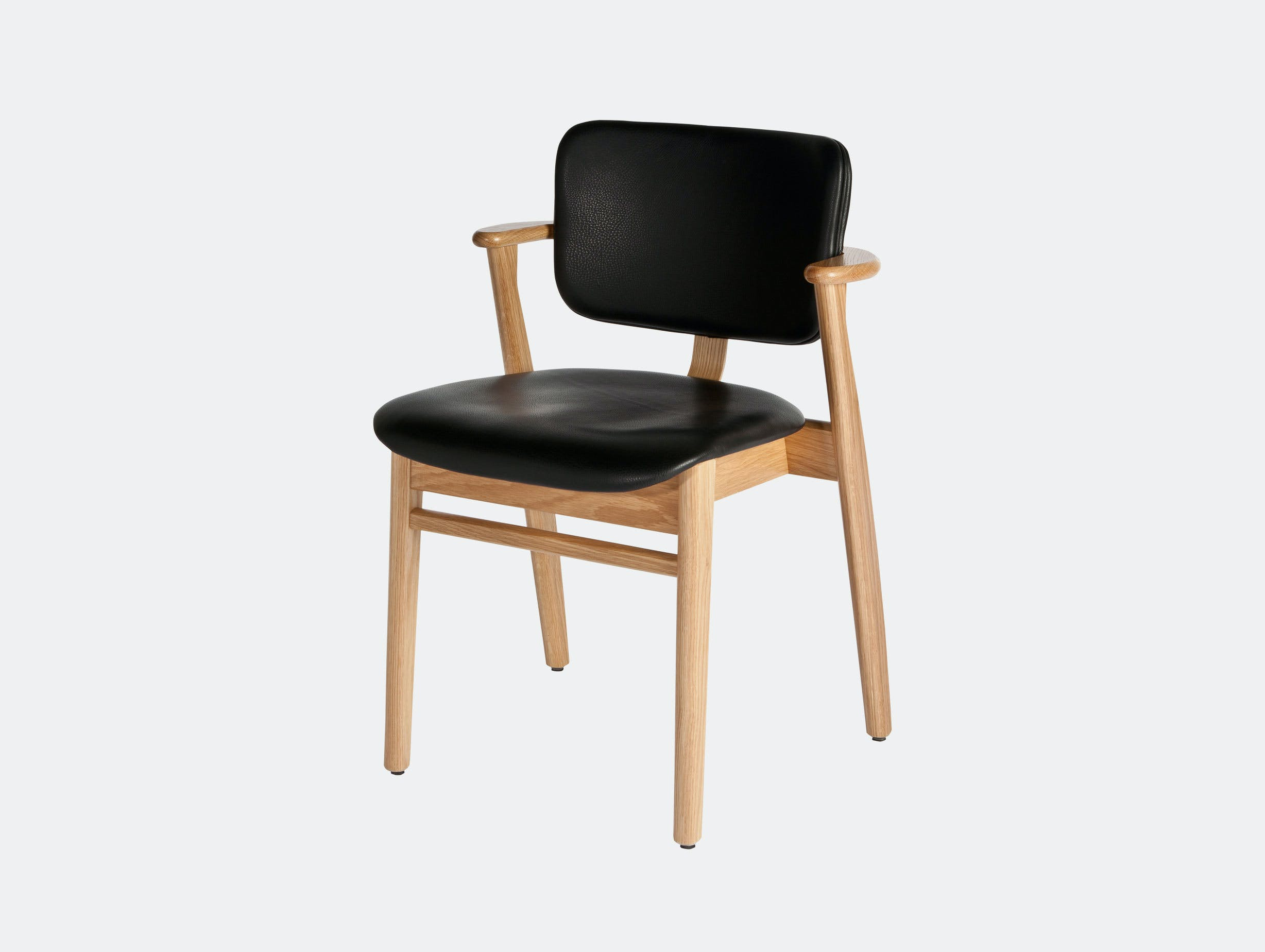 Artek Domus Chair Oak Black Leather Seat Photo Juha Nenonen