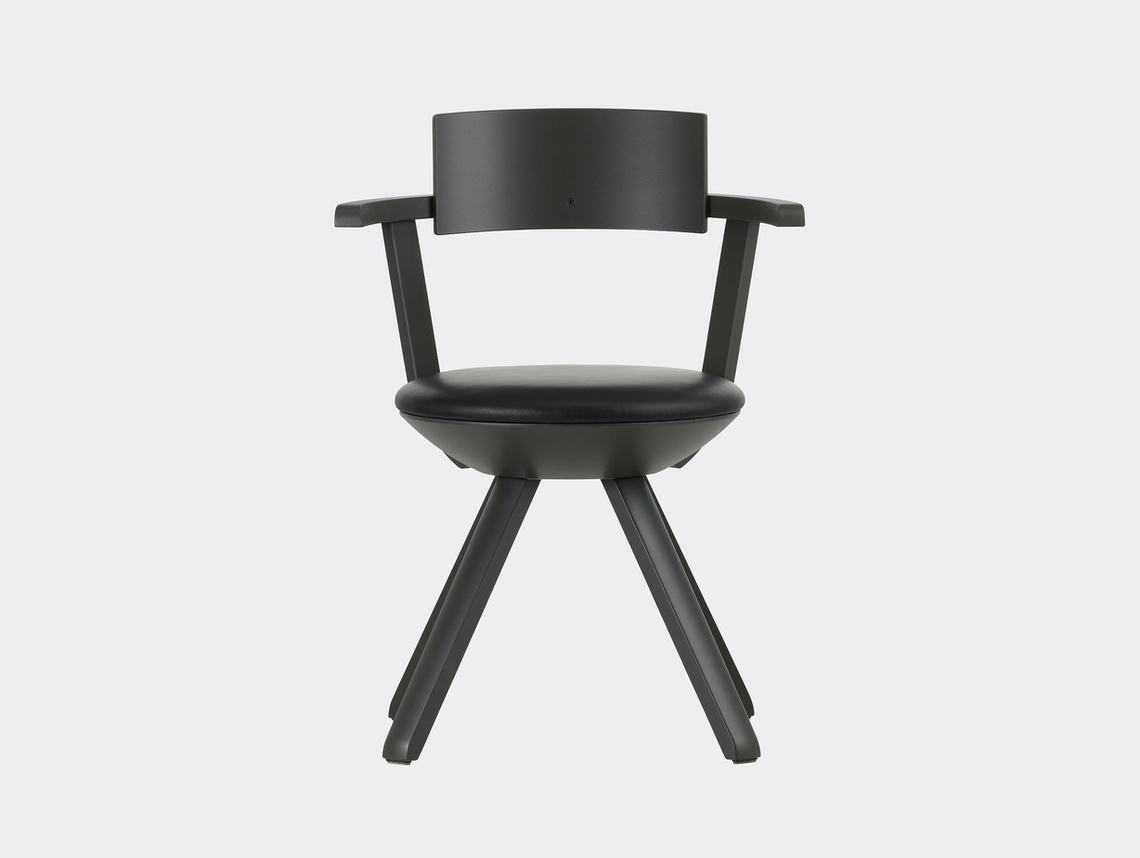 Artek Rival Chair Backrest Asphalt With Nero Leather Konstantin Grcic