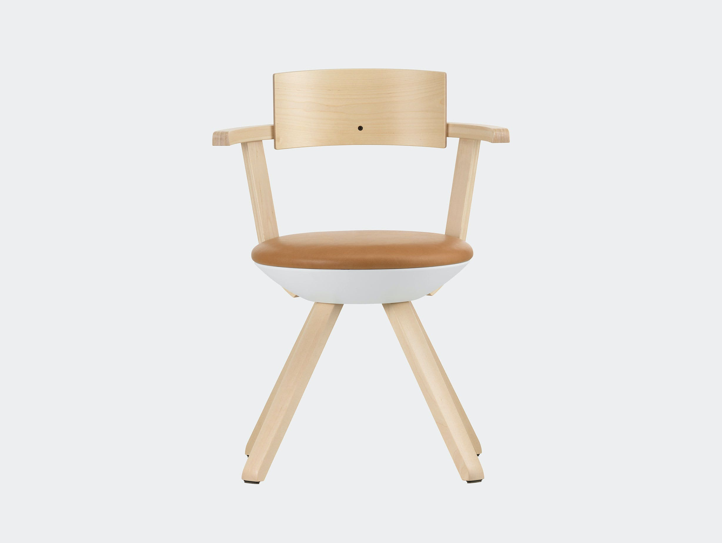Artek Rival Chair Backrest Silver Birch With Caramel Leather Konstantin Grcic