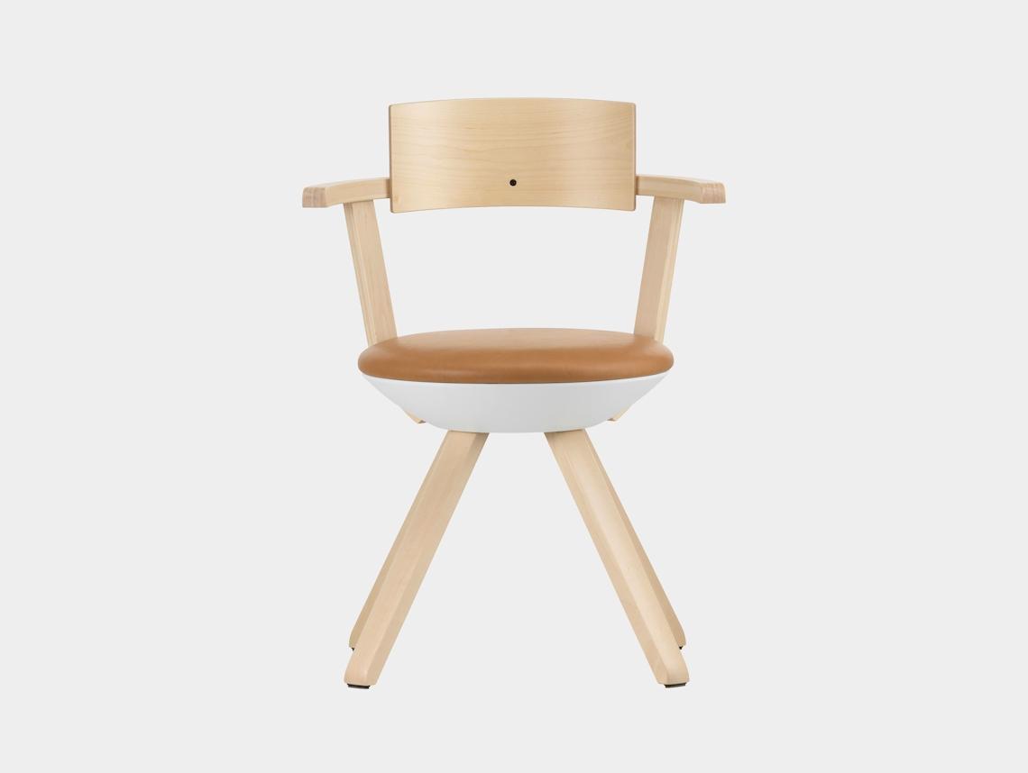 Artek Rival Chair Backrest Silver Birch With Caramel Leather Konstantin Grcic
