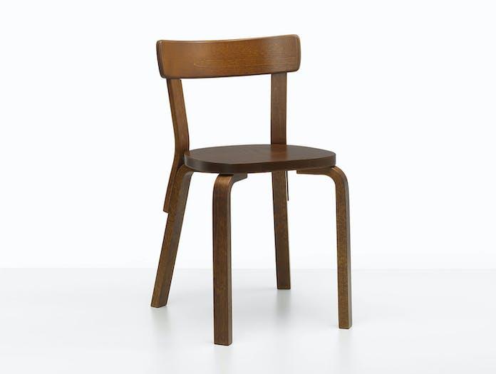 Artek Chair 69 Palmio Walnut Stained Alvar Aalto