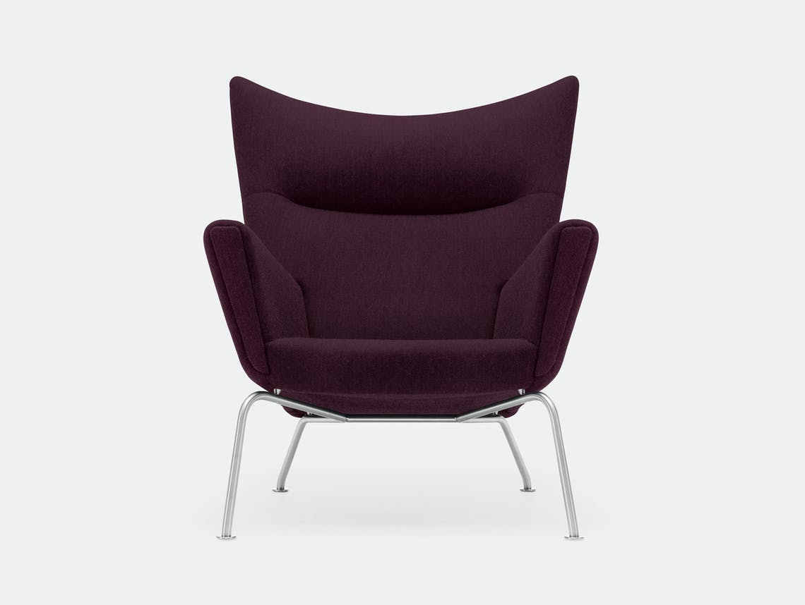 Carl hansen CH445 Wing Chair Fiord 591 stainless steel legs hans wegner