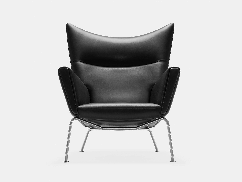 Carl hansen CH445 Wing Chair Thor 301 Black Leather hans wegner