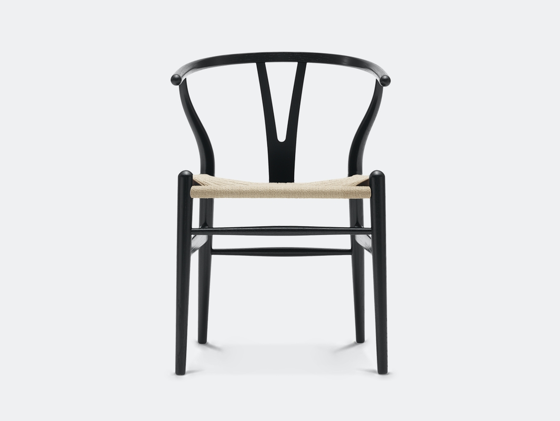 Ch24 Wishbone Chair Black Oak with Natural Cord