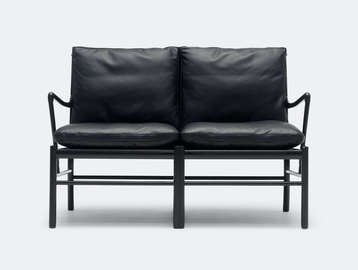 Carl Hansen Ow149 2 Colonial Sofa Black Leather Front Ole Wanscher