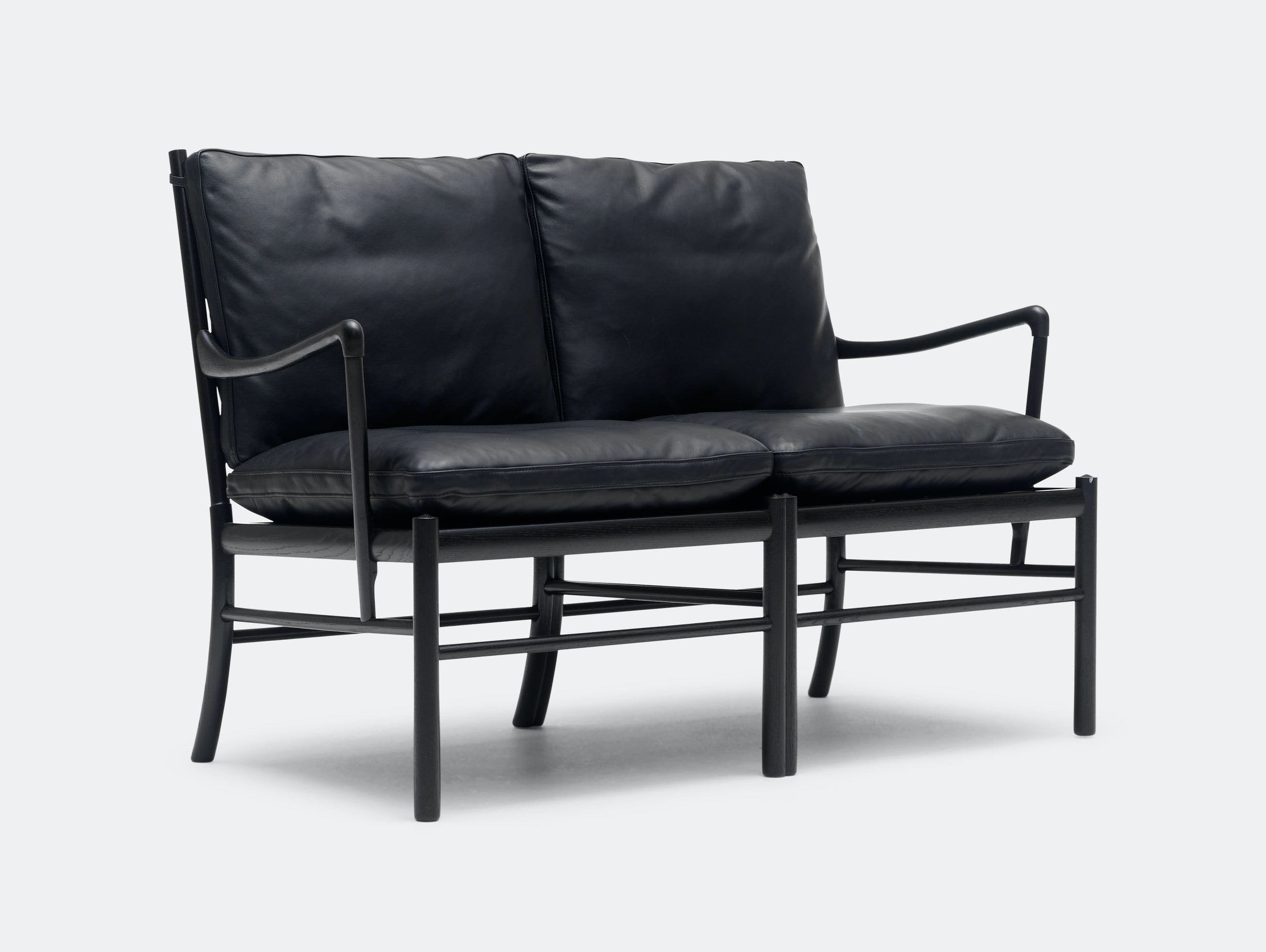 Carl Hansen Ow149 2 Colonial Sofa Black Leather Ole Wanscher