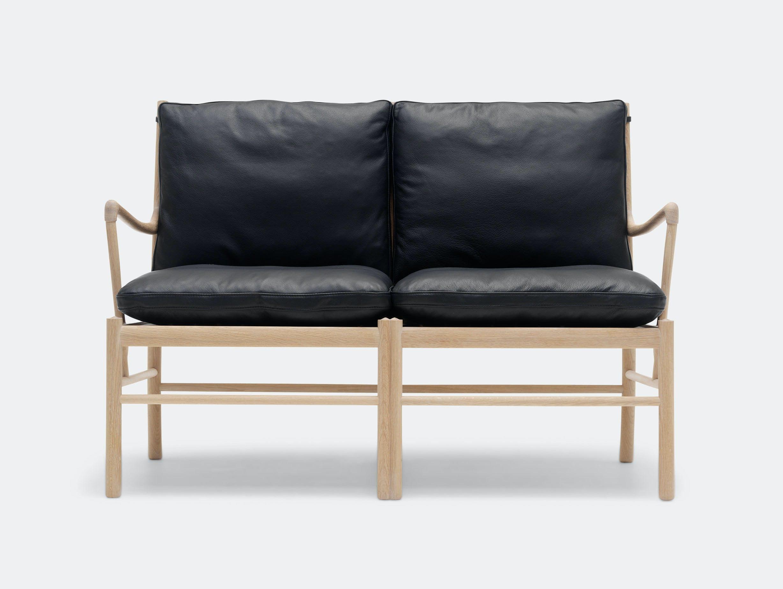 Carl Hansen Ow149 2 Colonial Sofa Oak Black Leather Ole Wanscher