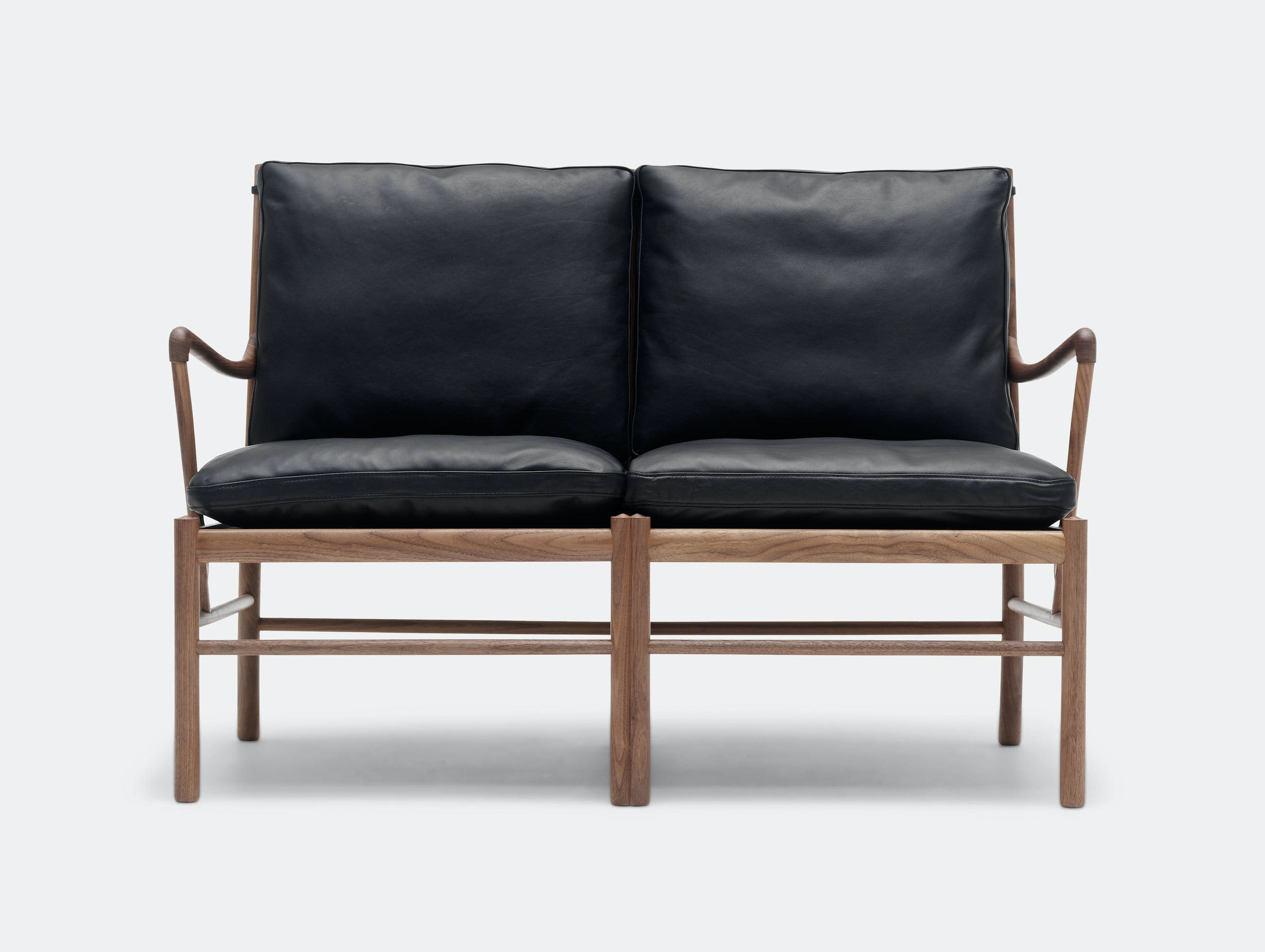 Carl Hansen Ow149 2 Colonial Sofa Walnut Black Leather Front Ole Wanscher