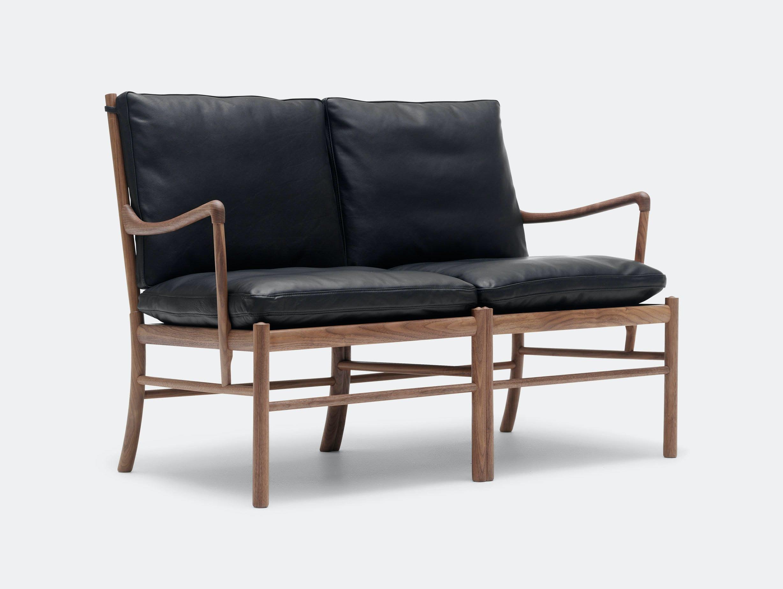 Carl Hansen Ow149 2 Colonial Sofa Walnut Black Leather Ole Wanscher