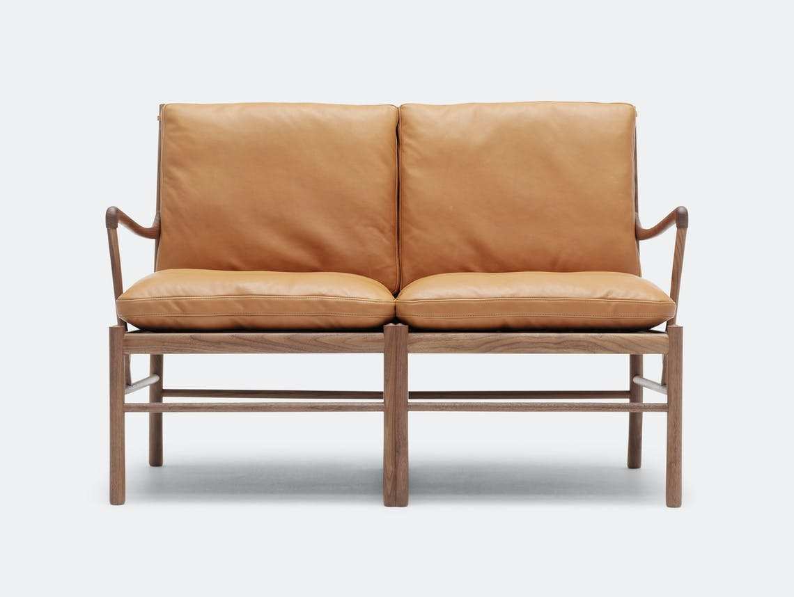 Carl Hansen Ow149 2 Colonial Sofa Walnut Tan Leather Front Ole Wanscher