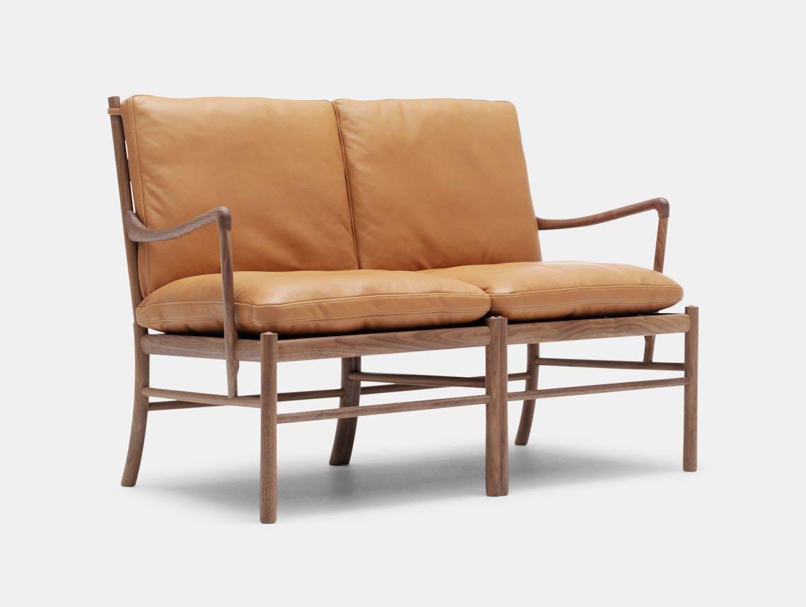 Carl Hansen Ow149 2 Colonial Sofa Walnut Tan Leather Ole Wanscher
