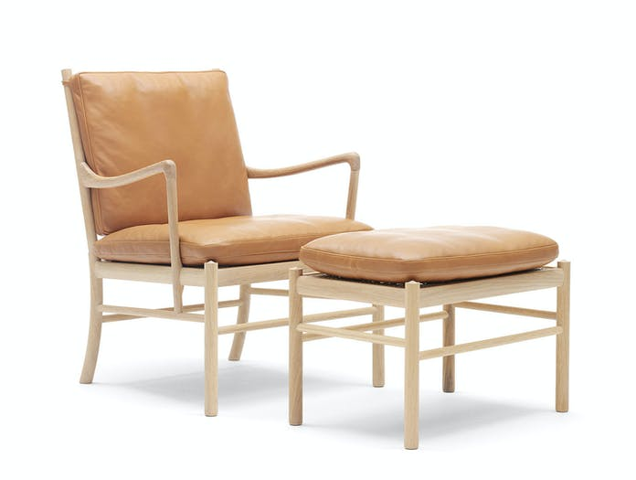 Carl Hansen Colonial Chair And Footstool Soaped Oak Ole Wanscher