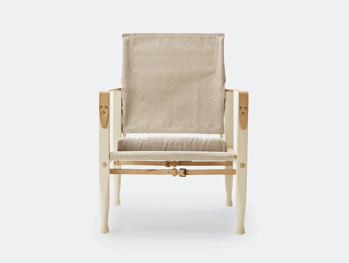 Carl Hansen Kk47000 Safari Chair Ash Natural Canvas Front Kaare Klint