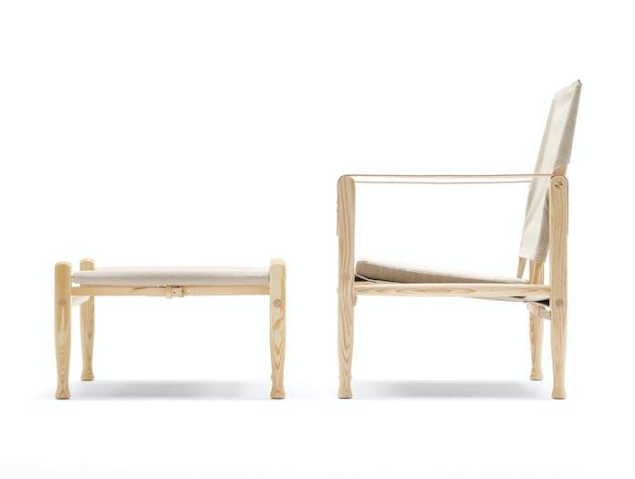Carl Hansen Kk47000 Safari Chair Ash Natural Canvas Side Kaare Klint