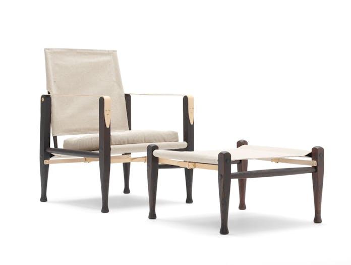 Carl Hansen Kk47000 Safari Chair Footstool Smoked Ash Natural Canvas Kaare Klint