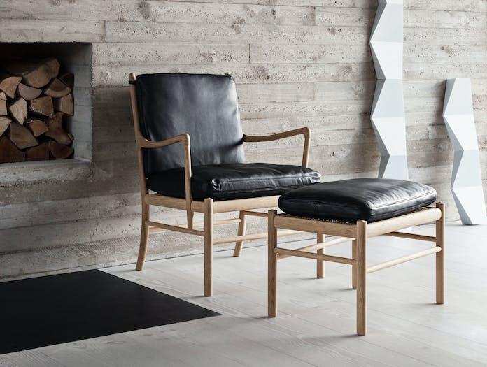 Carl Hansen Ow149 Colonial Chair Oak Black Leather