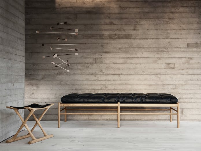 Carl Hansen Ow150 Daybed Oak Black Leather