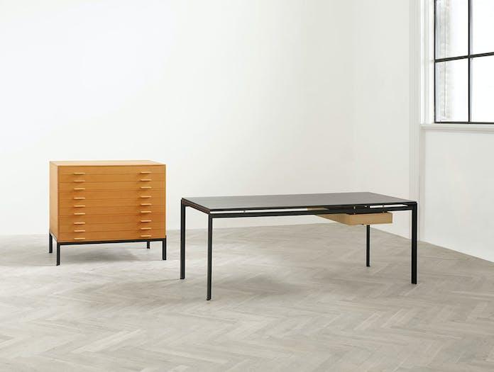 Carl Hansen Pk52 Professor Desk Black Oak Pk115 Drawer Oak Kjaerholm