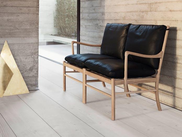 Carl Hansen Ow149 Colonial Sofa Oak Black Leather