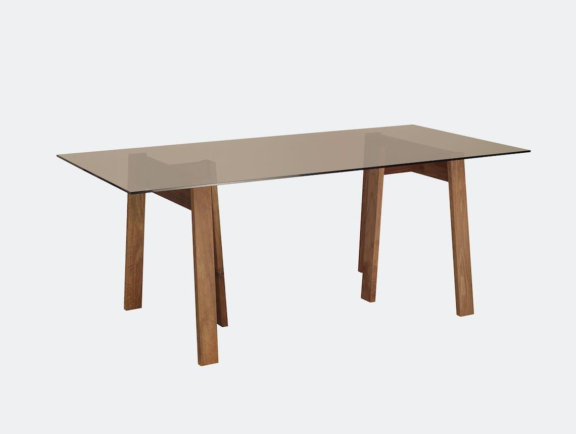 E15 Basis Table Rectangular Walnut Brown Glass David Chipperfield
