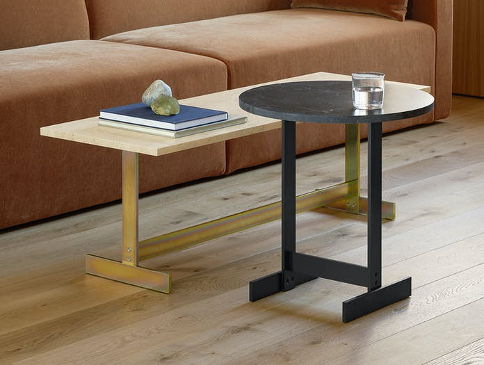E15 Lazlo Side Table Travertine Black Marble Philipp Mainzer