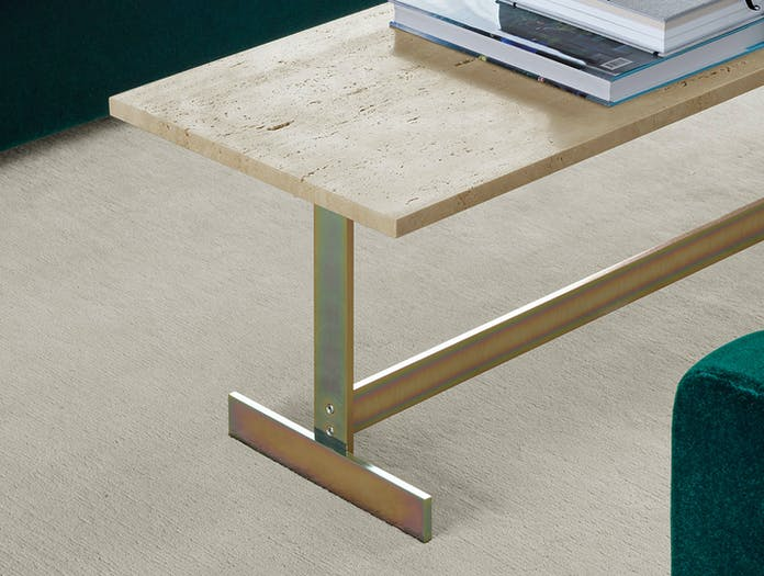 E15 Lazlo Side Table Travertine Top Zinc Base Philipp Mainzer