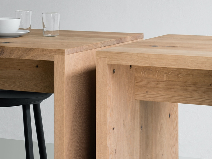 E15 PONTE high table whitened oak detail
