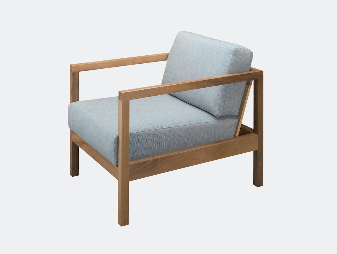 E15 Byron Lounge Chair Walnut Blue Fabric Florian Asche Phiipp Mainzer
