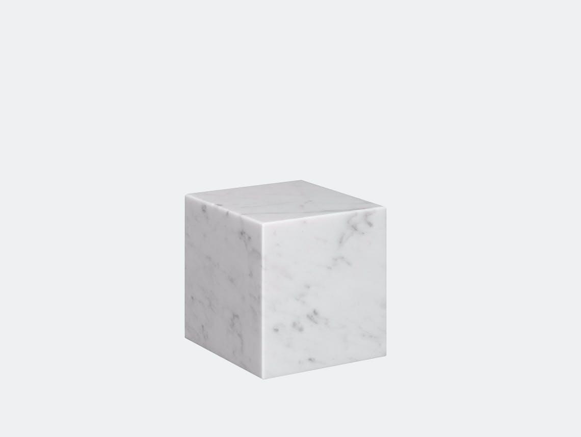 E15 Stop Bookend Cube White Marble Philipp Mainzer