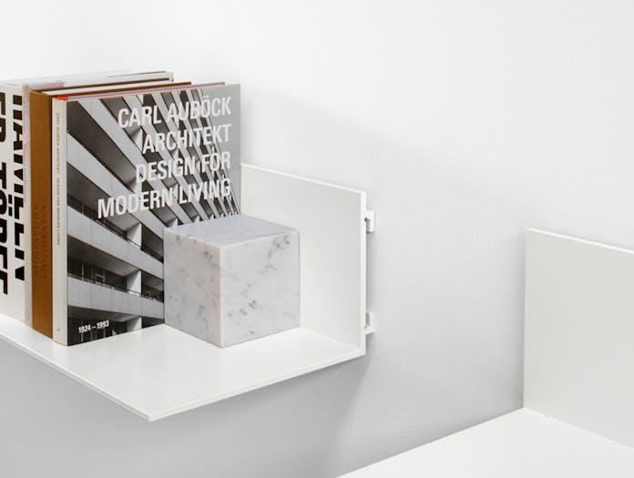 E15 Stop Bookend Cube Bianco Carrara Marble Philipp Mainzer