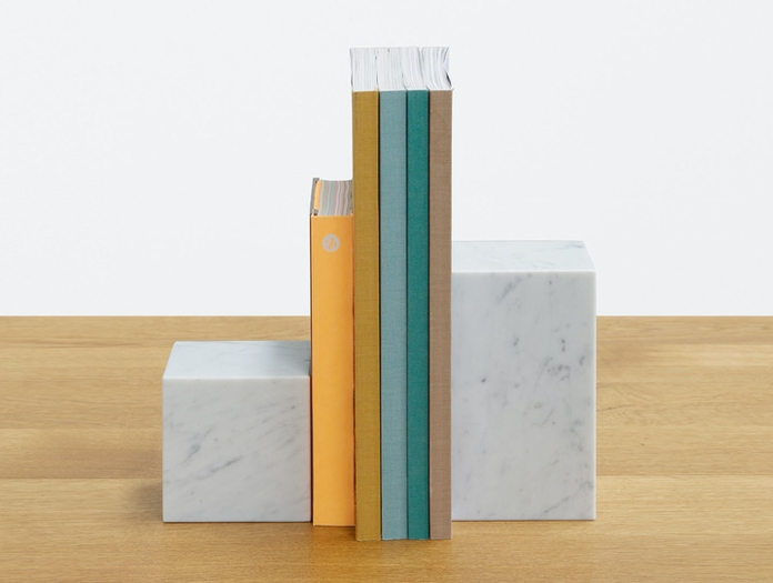 E15 Stop Bookends White Marble Philipp Mainzer