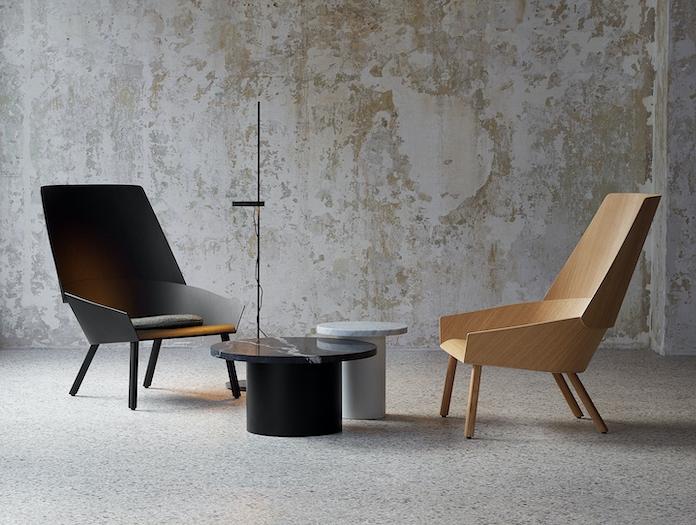 E15 Eugene Lounge Chairs Black Oak Stefan Diez