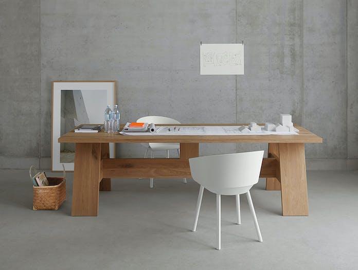 E15 Fayland Table Desk Oak White Pigment David Chipperfield