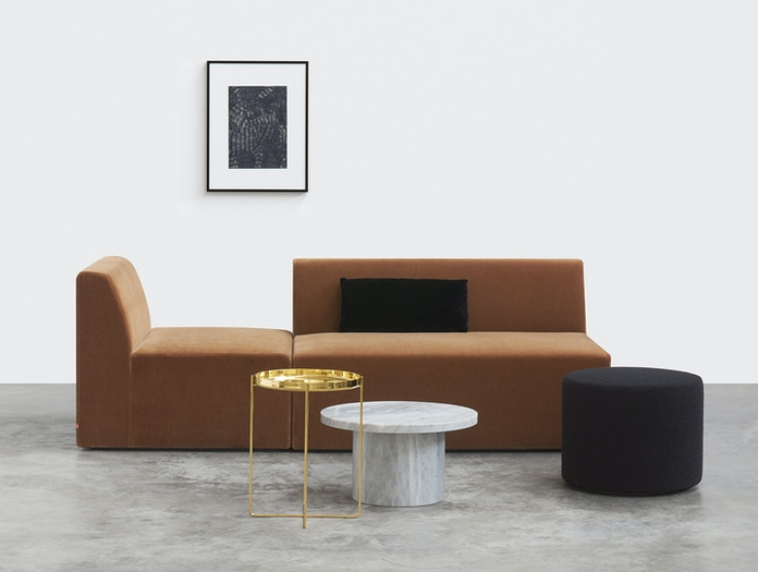 E15 Habibi Side Table Brass Kerman Sofa Philipp Mainzer