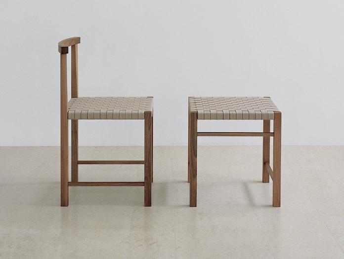 E15 Karnak Chair Aswan Stool Walnut Textile Ferdinand Kramer