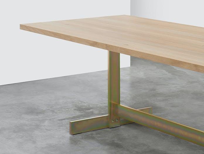 E15 Kazimir Table Oak Zinc Plated Yellow Philipp Mainzer