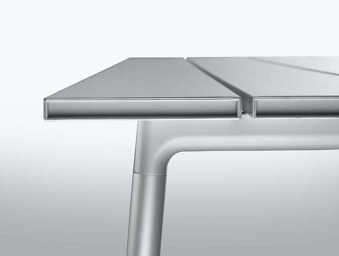 Emeco run table detail aluminium kim colin sam hecht