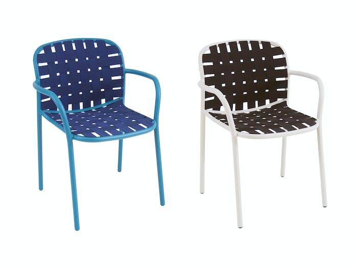 Emu Yard Armchairs Blue White Black Stefan Diez